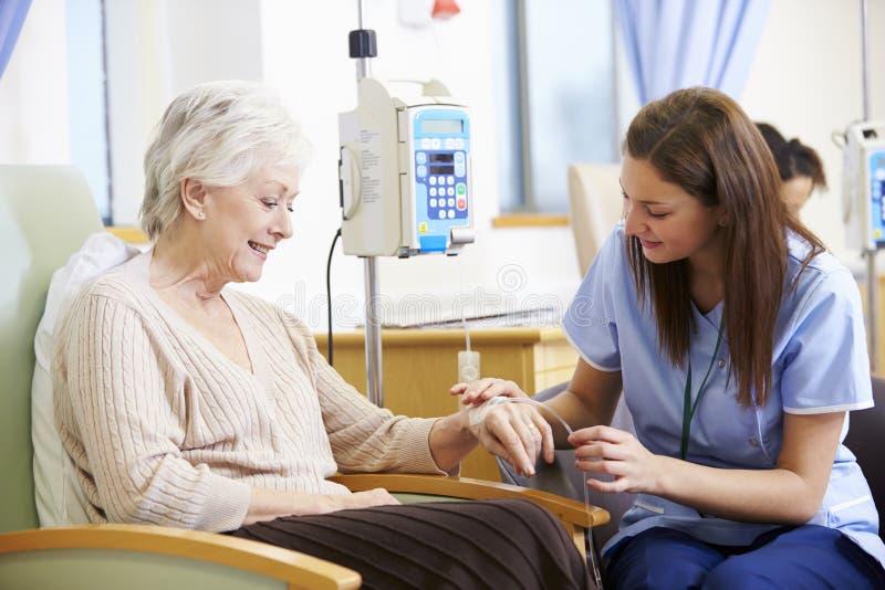 Hög kvinna som genomgår kemoterapi med sjuksköterskan arkivbild