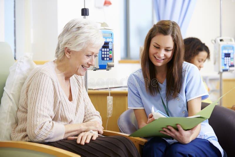 Hög kvinna som genomgår kemoterapi med sjuksköterskan royaltyfri fotografi
