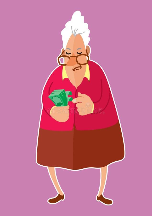 Hög kvinna som räknar pengar royaltyfri illustrationer
