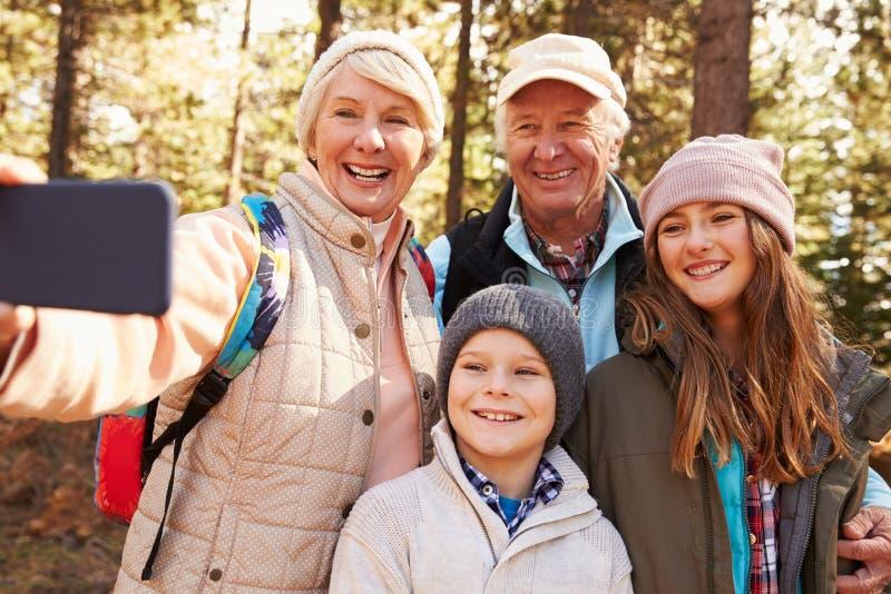 Hög kvinna som tar utomhus- selfie med grandkids och maken arkivfoto
