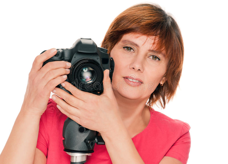 Hög kvinnafotograf arkivbilder