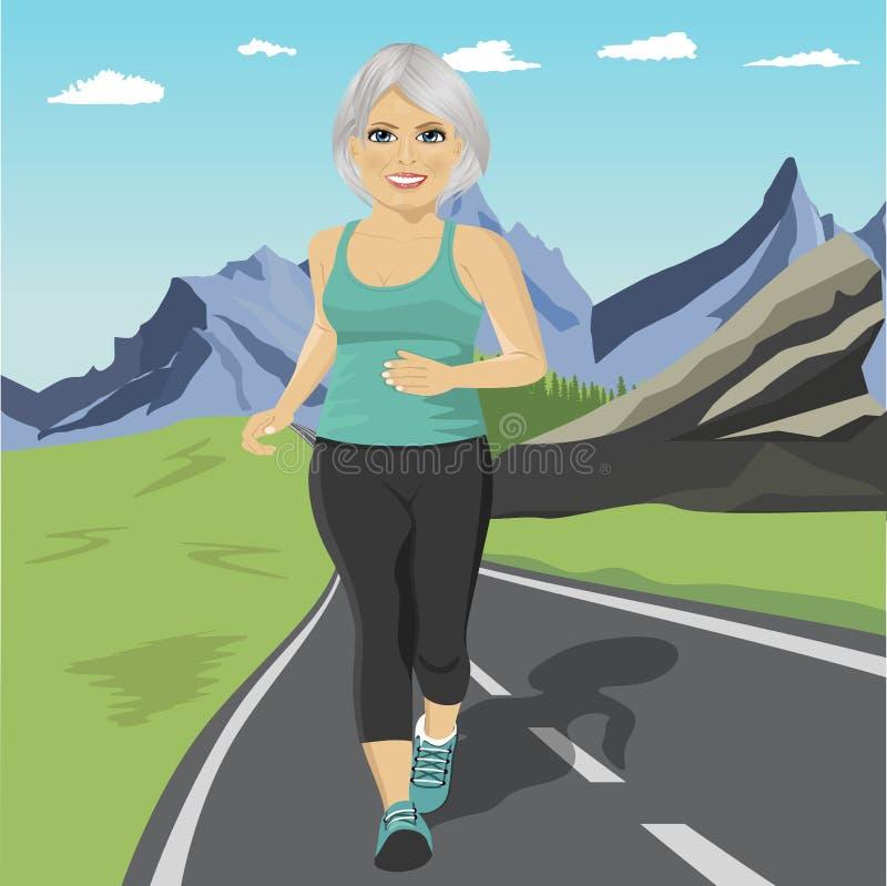 Hög kvinnaspring eller sprinta på vägen i berg Mogen kvinnlig konditionlöpare för passform under utomhus- genomkörare royaltyfri illustrationer
