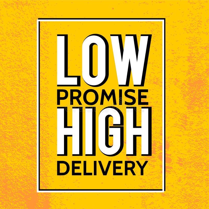 Hög leverans för lågt löfte Motivational citationsteckenaffisch med grungebakgrund Gul tappningstil stock illustrationer