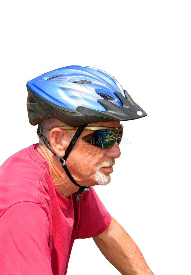 Hög male cyklist royaltyfri bild