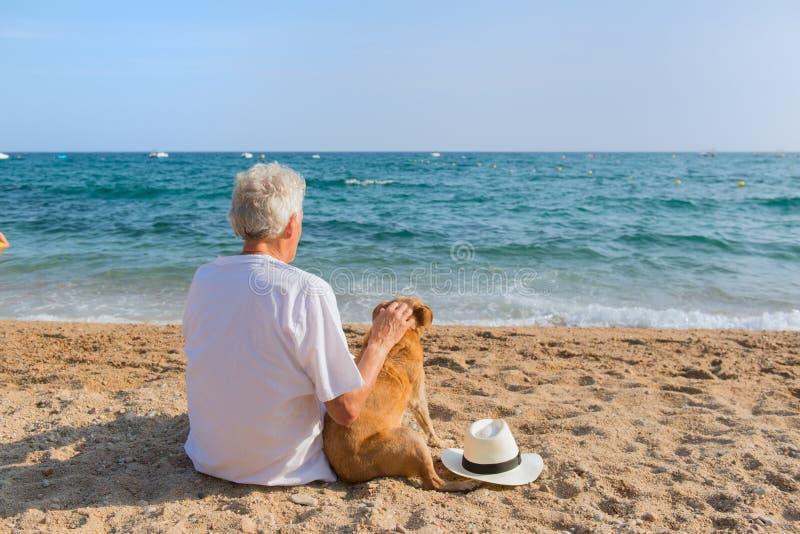Hög man med hunden på stranden arkivbild