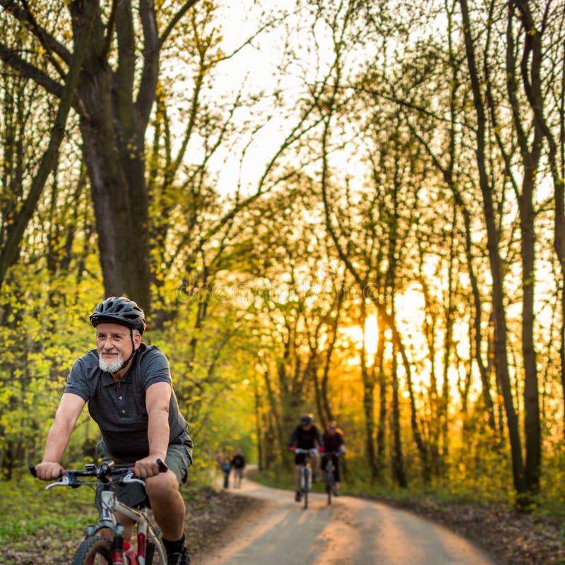 Hög man på hans mountainbike utomhus arkivbild