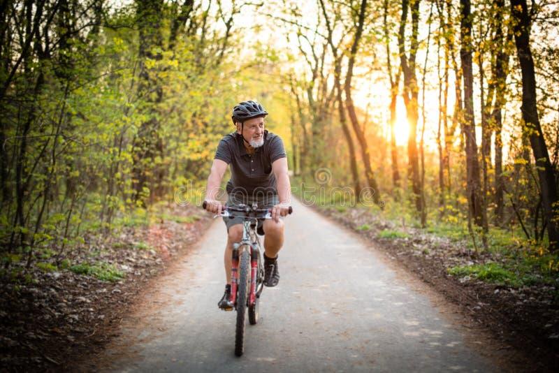 Hög man på hans mountainbike utomhus royaltyfri foto