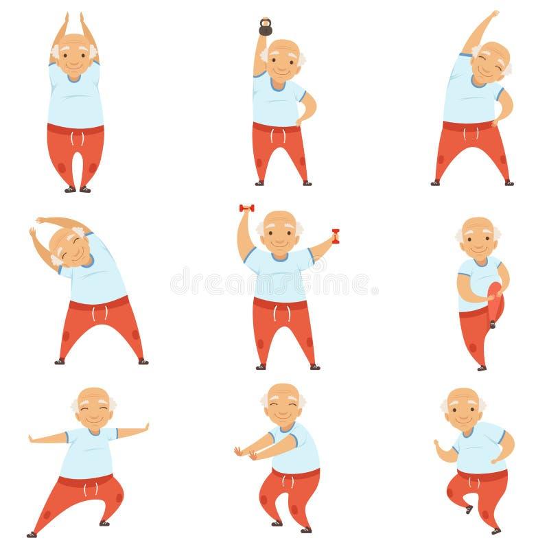 Hög man som gör livsstilen den övningar för morgon aktiv och sund, av den pensionerade folkvektorillustrationen på en vit vektor illustrationer