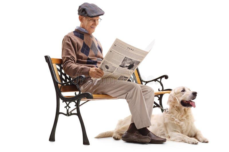 Hög man som läser en tidning med hans hund royaltyfri fotografi