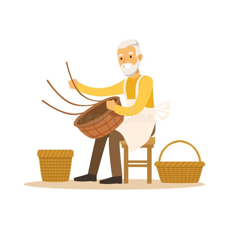 Hög man som väver korgar, hantverkhobby eller för teckenvektor för yrke den färgrika illustrationen stock illustrationer