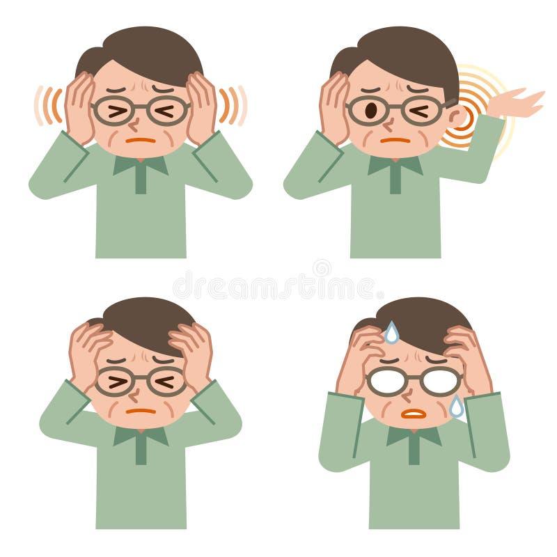 Hög manuppsättning av huvudvärken stock illustrationer