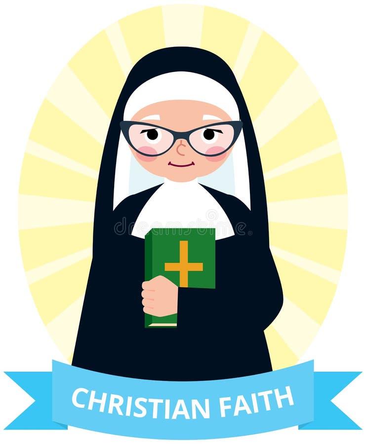 Hög nunna med en bibel i hand royaltyfri illustrationer