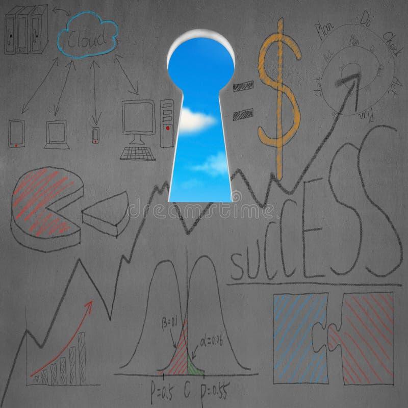 Hög nyckel- formdörr med affärsklotter och blå himmel royaltyfri illustrationer