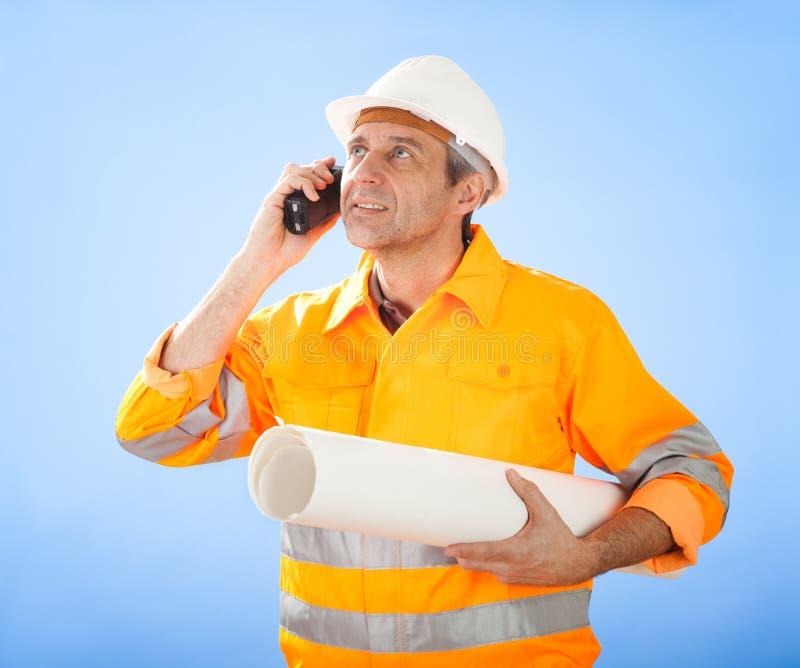 hög skyarbetare för konstruktion royaltyfria foton