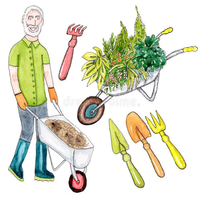 Hög trädgårdsmästare och trädgårds- hjälpmedel royaltyfri illustrationer