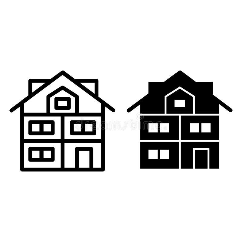 Hög tre-berättelse huslinje och skårasymbol Modern husvektorillustration som isoleras på vit Stuga med mansarden stock illustrationer