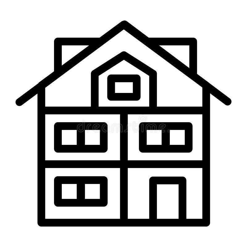 Hög tre-berättelse huslinje symbol Modern husvektorillustration som isoleras på vit Stuga med mansard översiktsstil stock illustrationer