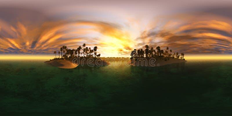 Hög upplösningsöversikt för HDRI Miljööversikt, tropisk öskärgårdstrand med palmträd, strand med palmträd arkivfoton