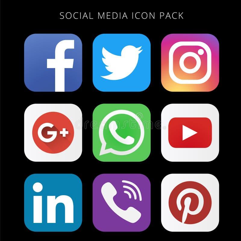 Hög upplösningssamling av den sociala massmediasymbolspacken med svart bakgrund vektor illustrationer