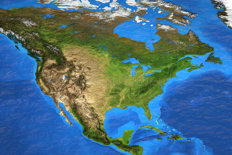 Hög upplösningsvärldskarta som fokuseras på Nordamerika arkivfoto
