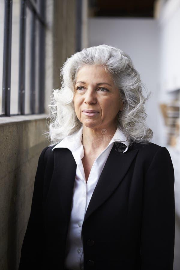 Hög vit affärskvinna som bort ser, stående royaltyfri fotografi