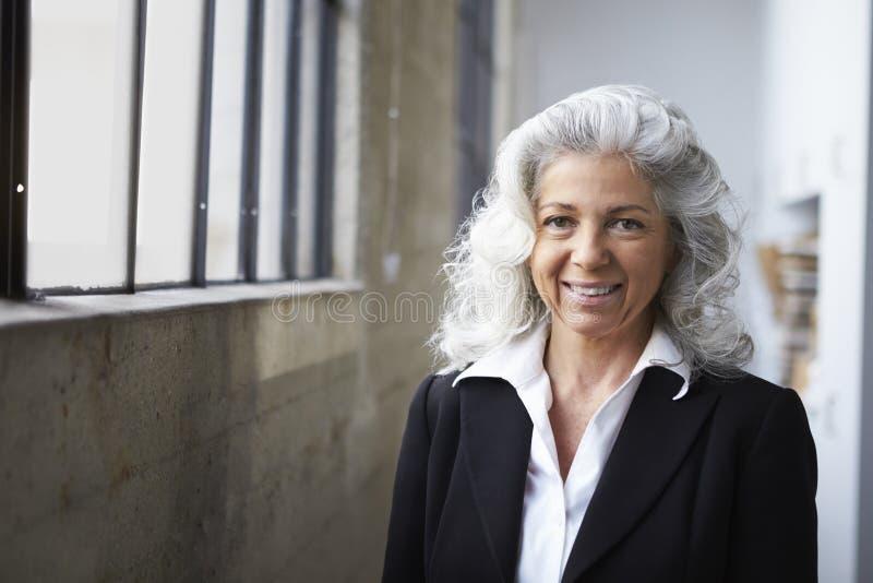 Hög vit affärskvinna som ler till kameran fotografering för bildbyråer