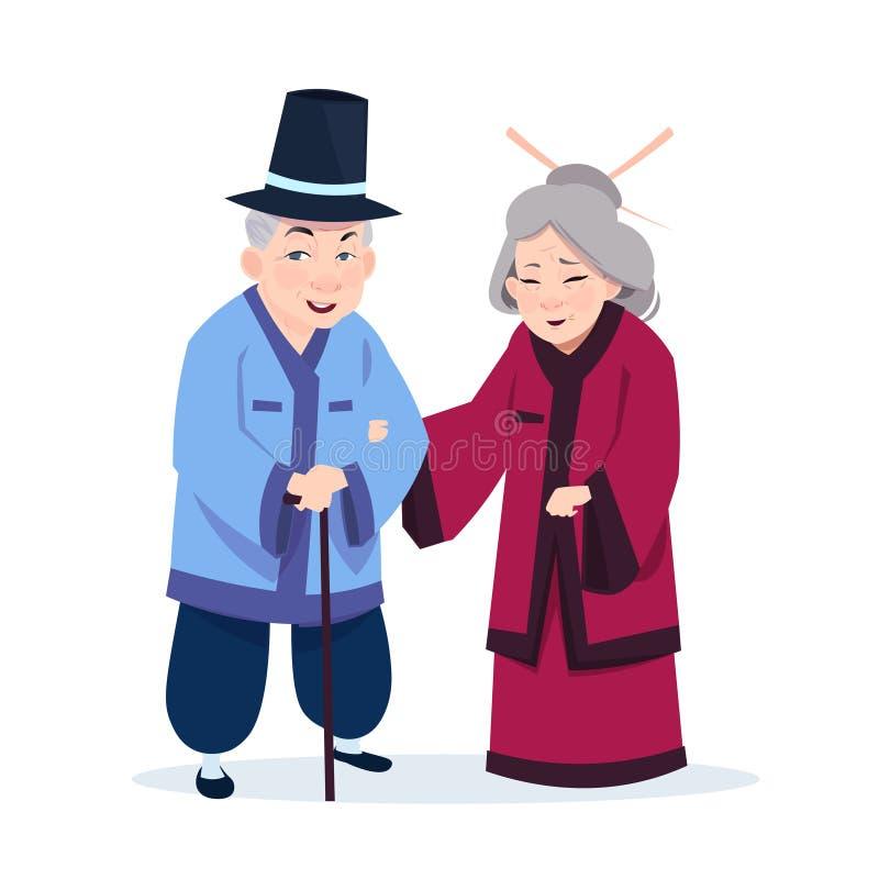 Höga asiatiska par som bär traditionella dräkter gamal man och kvinna på vit bakgrund vektor illustrationer