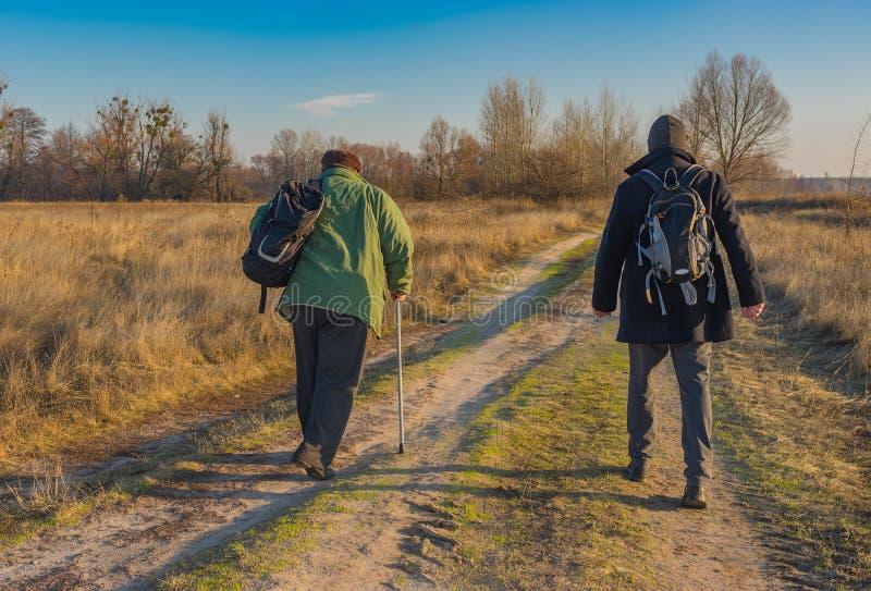 Höga fotvandrare med ryggsäckar som går på en landsväg royaltyfri bild