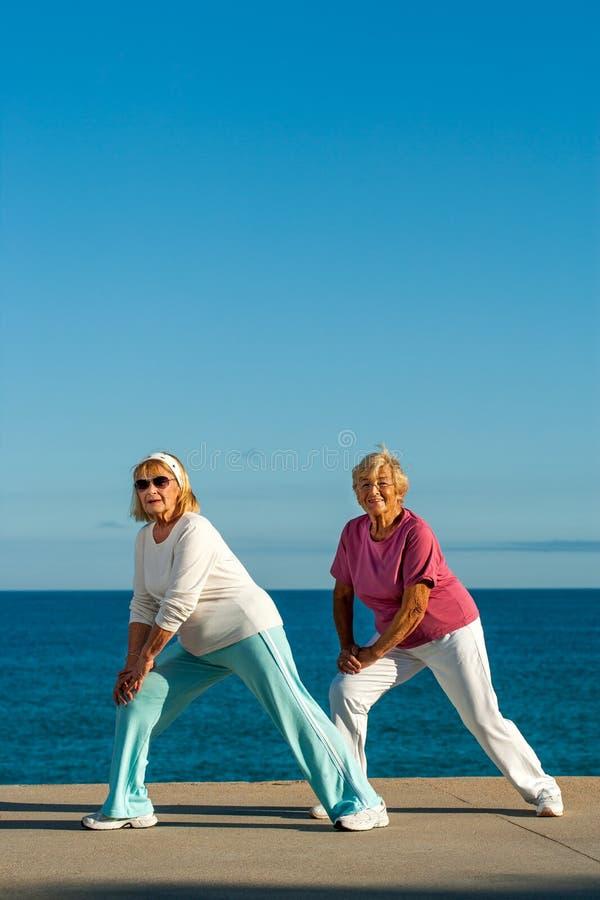 Höga kvinnor som gör sträcka övning på sjösidan. arkivfoto