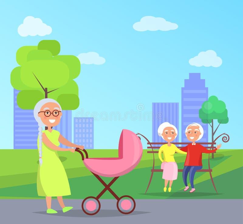 Höga par för lycklig morförälderdag på bänk royaltyfri illustrationer