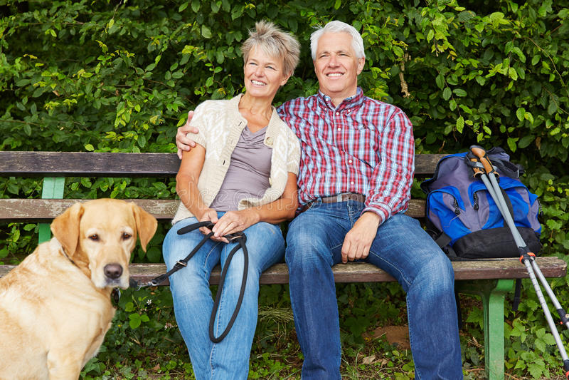 Höga par med hundsammanträde på bänk royaltyfria bilder