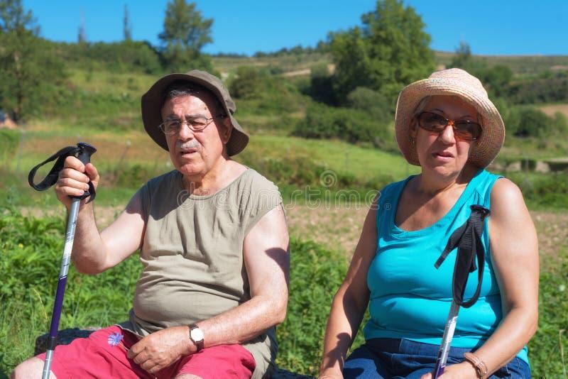 Höga par på vandringen som vilar med att fotvandra pinnar royaltyfria foton