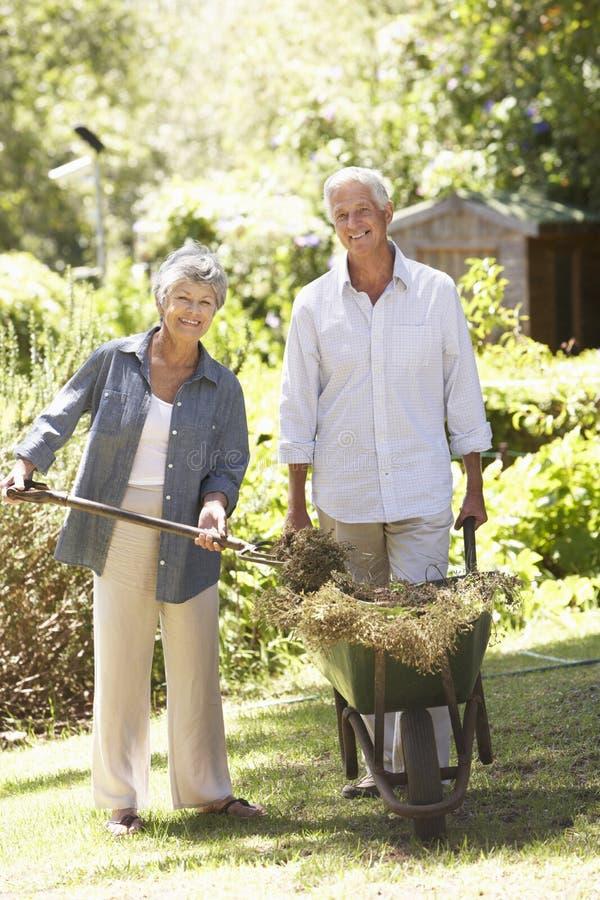Höga par som arbetar i trädgårds- hemmastatt royaltyfri foto
