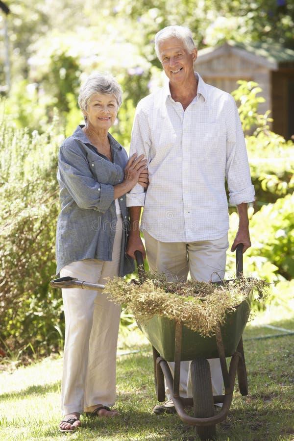 Höga par som arbetar i trädgårds- hemmastatt royaltyfria bilder