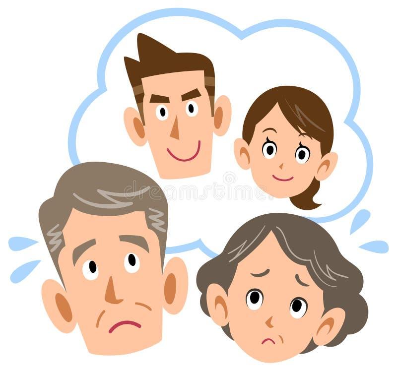 Höga par som besväras av deras son och par vektor illustrationer