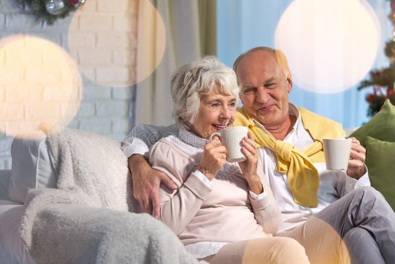 Höga par som dricker te arkivfoto