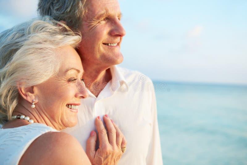 Höga par som får att gifta sig i strandceremoni royaltyfri foto