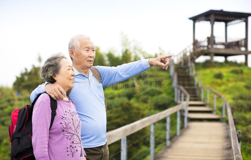 Höga par som fotvandrar i berget royaltyfri fotografi