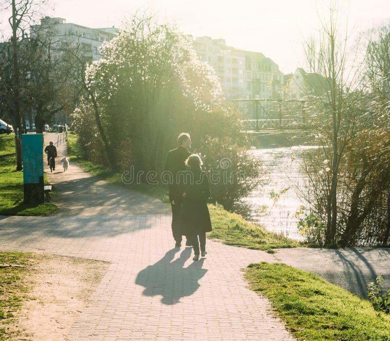 Höga par som går aktiva par för promenad royaltyfri fotografi