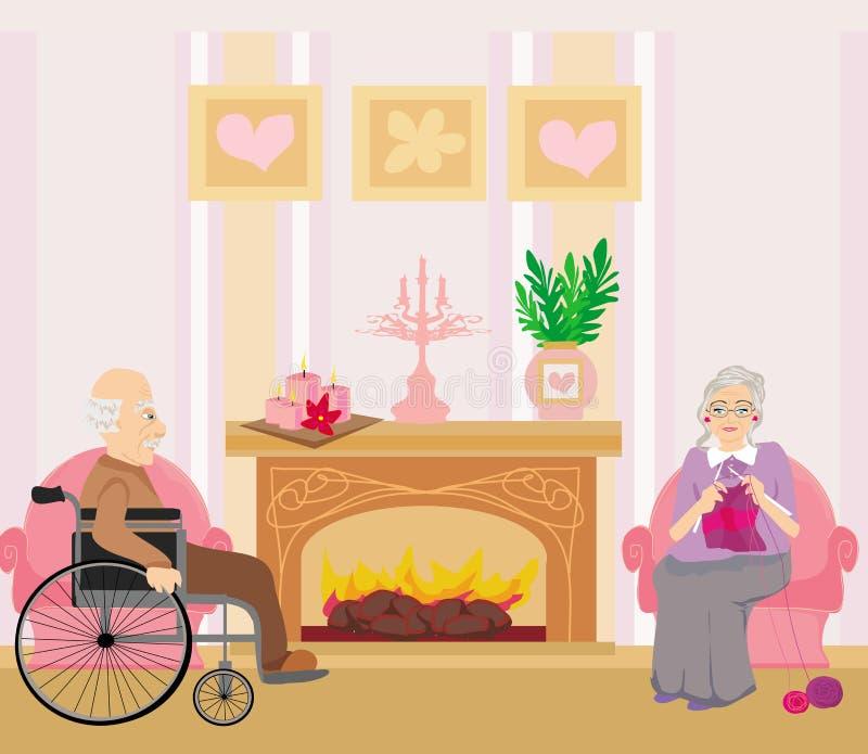 Höga par som hemma vilar royaltyfri illustrationer