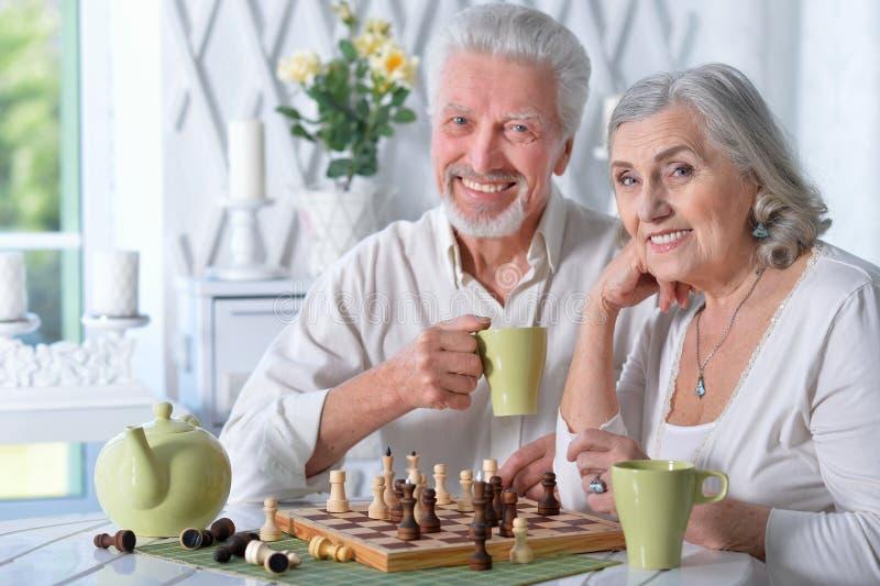 Höga par som spelar schack royaltyfri foto