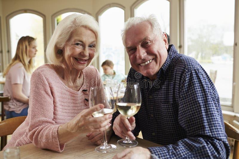 Höga par som tycker om exponeringsglas av vin i restaurang royaltyfria foton