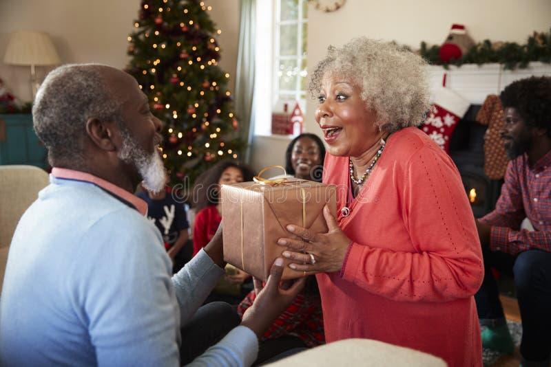 Höga par som utbyter gåvor, som de firar jul hemma med familjen royaltyfria bilder