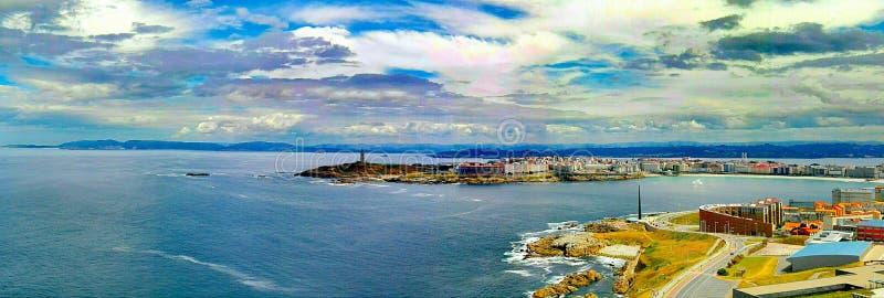 Höga rias Galicia Coruña Torre de Hercules Spain för roman fyr royaltyfri foto