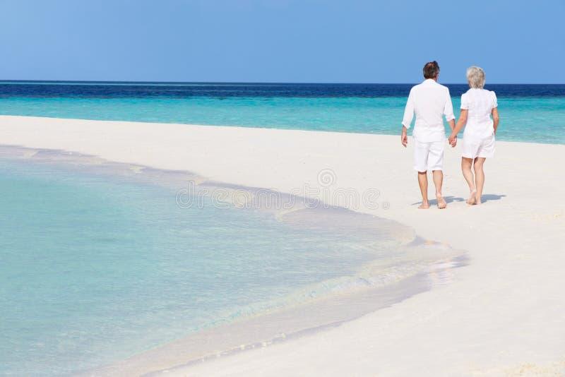 Höga romantiska par som går på den härliga tropiska stranden royaltyfri fotografi