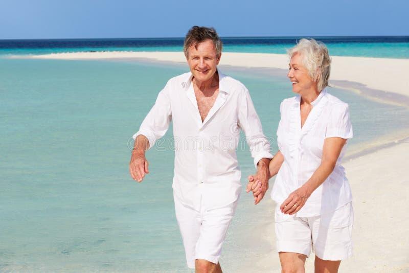 Höga romantiska par som går på den härliga tropiska stranden royaltyfri bild