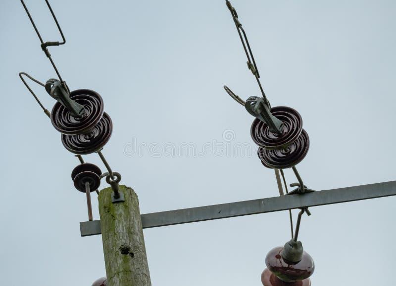 Höga spänningselströmkablar och isolatorer som ses på träpoler royaltyfri bild