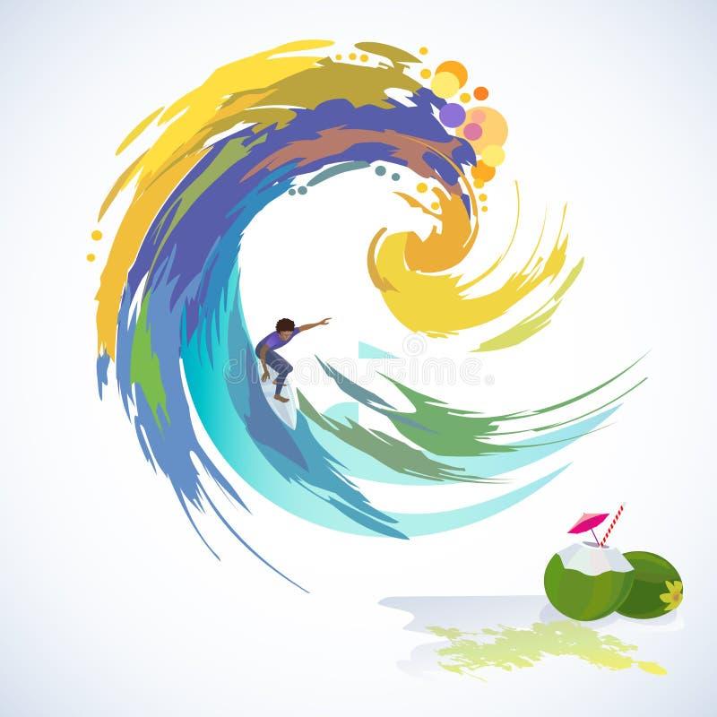 höga surfa waves för affärsföretag stock illustrationer
