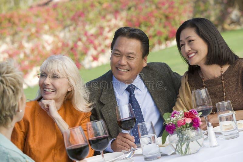 Höga vänner som sitter dricka tillsammans vin royaltyfri foto