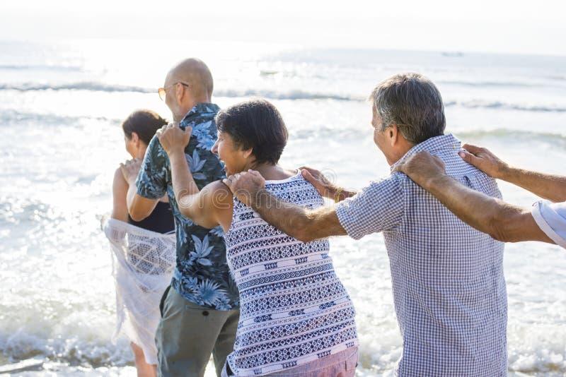 Höga vänner som spelar på stranden royaltyfri foto